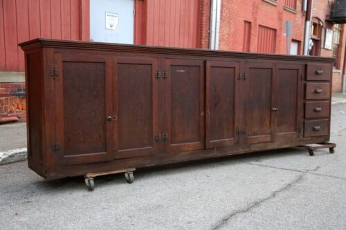 Antique Store Counter 12ft Wood Cabinet Back Bar Pub Apothecary Drawers Island