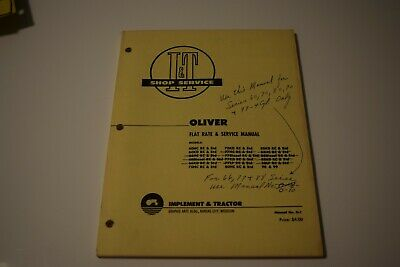 I T Manual Oliver 60 70 80 90 99 Tractor Manual