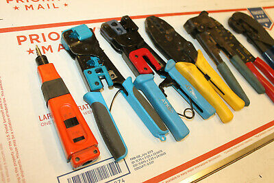 Lot Of 6 Wire Crimpers Ideal At680 And More Telecom Lineman Cable Tools