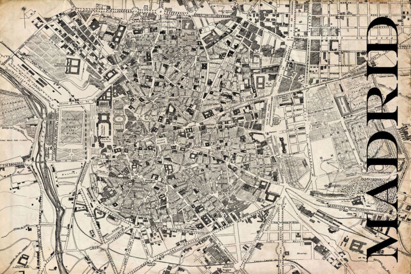 "Vintage Map of Madrid 20"" x 30:"
