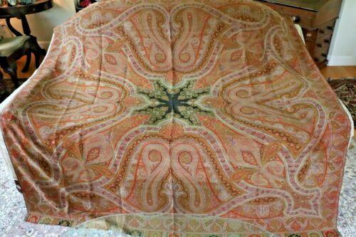 "Beautiful Antique c1860 Wool Kasmir Paisley Shawl~L-70"" X W-70"""