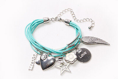 Fashion Forward Teal Blue Strings Bracelet w Different Cool Metal Details (T223)](Cool String Bracelets)