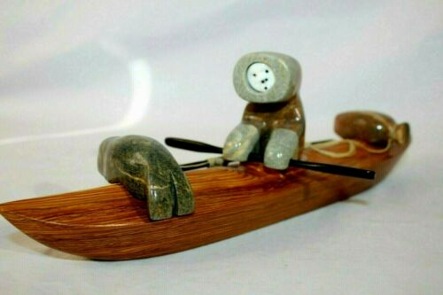 Lenwood Saccheus Carved Soapstone / Jade Eskimo Kayak Hunter Inupiaq ,Alaska Art