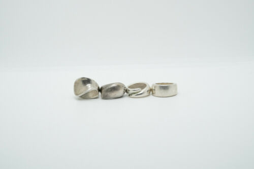 LOT of 4 Sterling Silver Chunky Modernist Rings, 50.2g