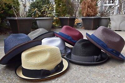 Mens Summer Fedora Hat, Poly braid Bound edge, Crushable Porkpie Hat EPf2808