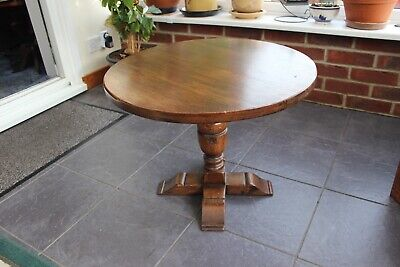 Victorian Edwardian Side Table Solid Oak with Acorn Pedestal & Sleigh Feet
