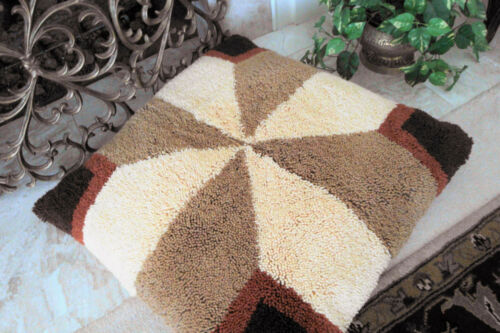 Handmade Earth Tone Large Latch Hook Shag Floor Pillow Cover / Accent Rug