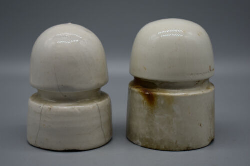 Two Vintage Canadian Pacific Railway (CPR) White Porcelain Insulators. Preowned.