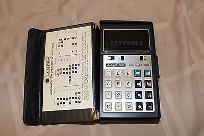 Lloyds Accumatic 200 Calculator E681 Vintage Calc. Green Lights w/ Instructions