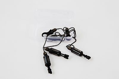 3 x Black Carp Fishing Chain Bite Alarm Bobbings Swingers Indicators + BOX