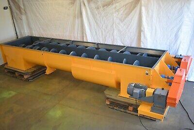 Twin Hollow Screw Auger Conveyor 27 Ft Shaft-less Screw Conveyor 6ft Wide Bin