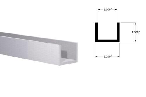 """4pcs Aluminum Channel:(1-1/4"""" W x 1"""" H x 1/8"""" Wall ) Fits 1"""" Mill Finish 1 Foot"""