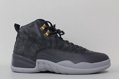 Men's Nike Air Jordan 12 Retro Dark Grey Wolf Gray Suede 130690-005 Size 9.5