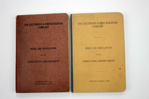 2 Vintage Baltimore & Ohio Railroad Company Rules & Regs of Operating Department