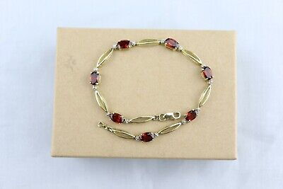 """10k Yellow Gold Oval Garnet & Diamond Accent Tennis Bracelet 7"""" for sale  Shipping to South Africa"""