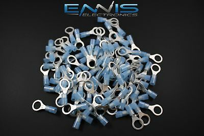 14-16 Gauge Nylon Ring 516 Blue 25 Pk Crimp Terminal Awg Ga Connector Car
