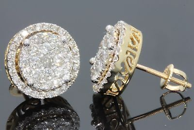 Men's & Women's 10K Yellow Gold 1.43 CT Round Diamond Micro Pave Earrings Studs