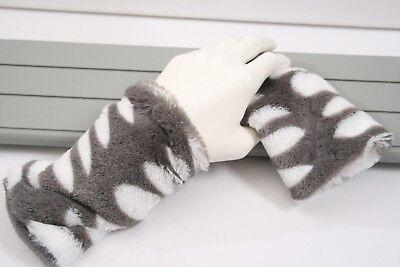 Neu Armstulpen Damen Pulswärmer Fellimitat  Weiß Grau  gefüttert Fleece