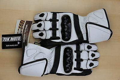 t White Leather Motorcycle Gloves-half cost of Icon REV'IT! (White Gauntlet Handschuhe)