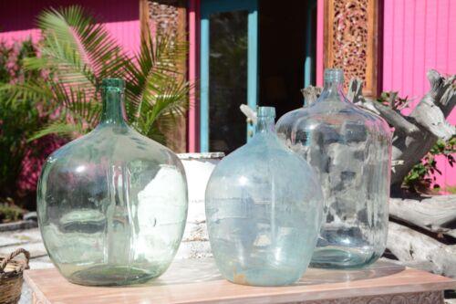 Large Vintage Italian Clear Blue Wine Glass Jug