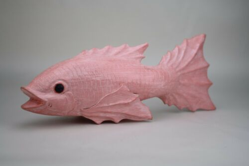 Gorgeous Vintage Pink Carved Wood Fish Statue Sculpture Decor Boho Chic