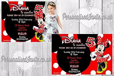 10 Minnie Mouse Girls Birthday Party Invitations Personalised Photo - Minnie Mouse Photo Invitations