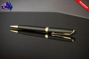 PARKER Sonnet Matte Black Ballpoint Pen with Gold Trim, Velvet Pouch, No Box