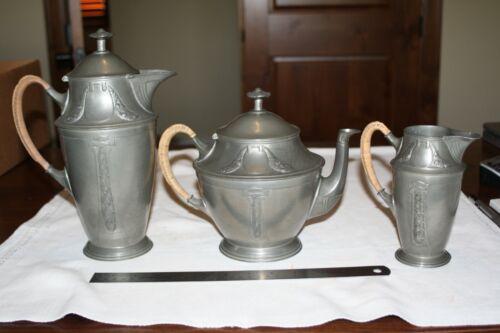 Rare  Art Nouveau Kayserzinn Pewter Teaset Teapot Coffee & Creamer