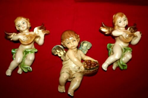 Lot of 3  Vintage Chalkware Cherubs Angels Wall Hanging Style  5-inch