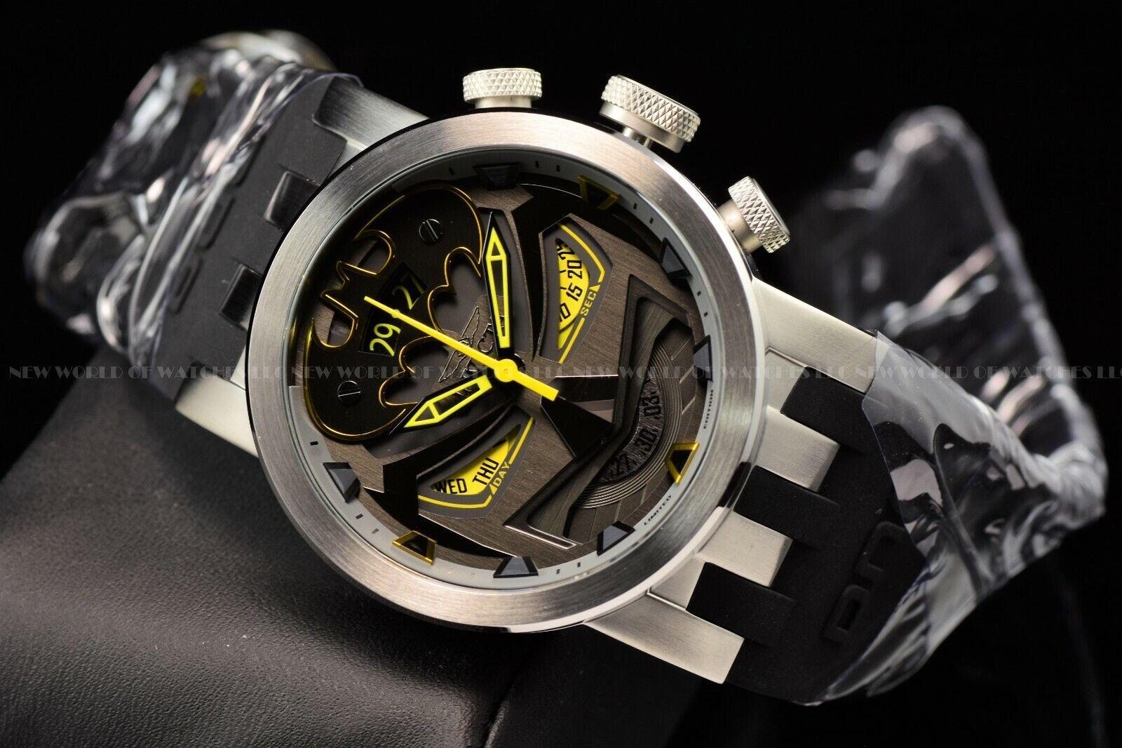 Invicta 46mm Men s DNA DC Comics BATMAN Chrono Lim Ed Swiss Black Strap Watch  - $100.00