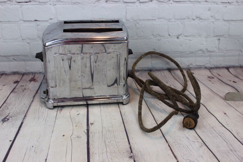 Vintage Old Heavy Silver Metal ToastMaster Toaster