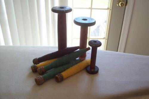 Genuine Antique Wooden Spools & Bobbins Colorful Thread Primitive Lot of 8