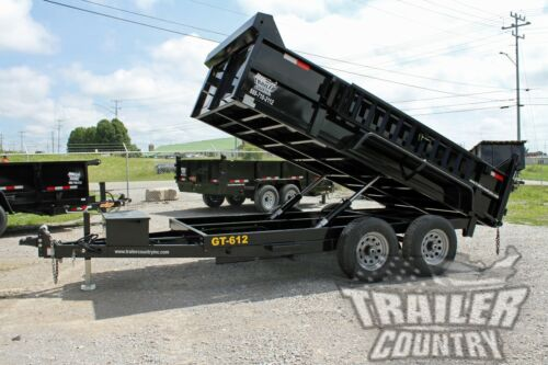 "NEW 2020 6 X 12 10K GVWR Hydraulic Power UP & DOWN Dump Trailer Hauler 24"" Sides"