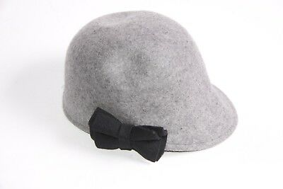 Beautiful Girly Grey Cloche Hat w Double Black Bow on the Side (Double Black Hat)