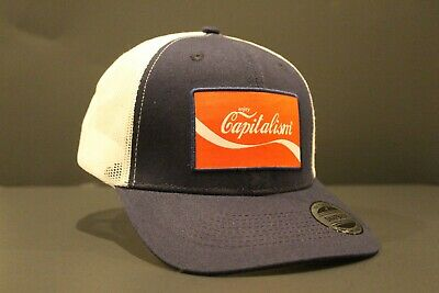 New Enjoy Capitalism Hat Trucker Cap Coke Coca Cola Logo Parody T-Shirt Style