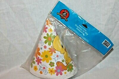 NEW LOONEY TUNES TWEETY 8 PARTY HATS  PARTY SUPPLIES