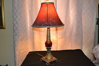Table Accent Lamp w/ dk red & gold Shade  Dark Red Glass & antiqued brass look