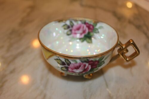 Vintage Napco 3-Footed Cup. ROSES! Iridescent Glaze & Gold Overlay! HP SD178 VGC