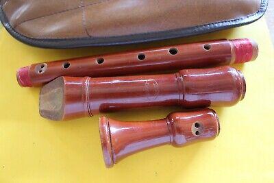 Holz Blockflöte 3 Teilg im Etui 46cm Musikinstrument Sammlerstück Herwiga Solist