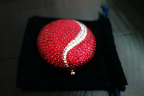 ESTEE LAUDER Vintage Red White Swarovski Crystal Swirl LUCIDITY Compact RARE