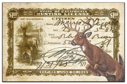 Vintage Whitetail Deer California Hunting License Art Print 11x17 Wall Decor