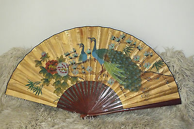 "Large Vintage Asian Oriental Fan Wall Decor Flowers and Birds 63"" X 35"""