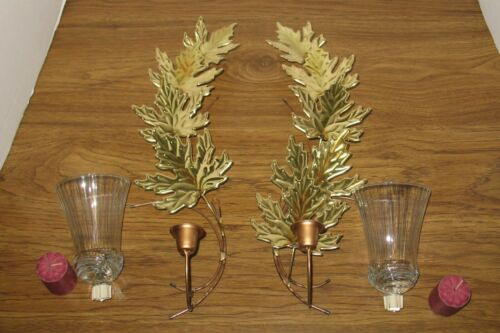 Vintage Home Interiors Brass & Copper Wall Sconce Leaves W/Votive Cups & Candles