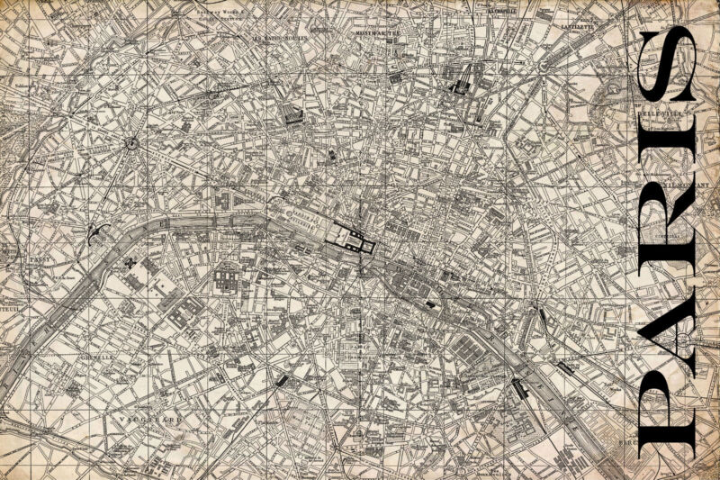 "Vintage Map of Paris 20"" x 30:"