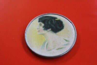 Vintage 'Victorian Woman' Tin & Paper Round Pocket Mirror