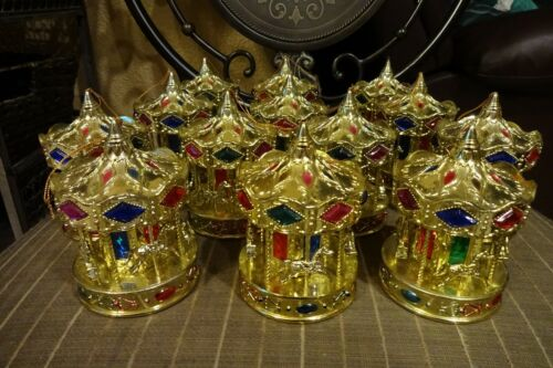 Lot ( 13 ) Christmas Holiday Carousel Horse Plastic Ornaments Yellow Gold