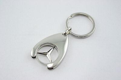 Mercedes Schlüsselanhänger, Mercedes Schlüsselring silber mit Einkaufswagen-Chip