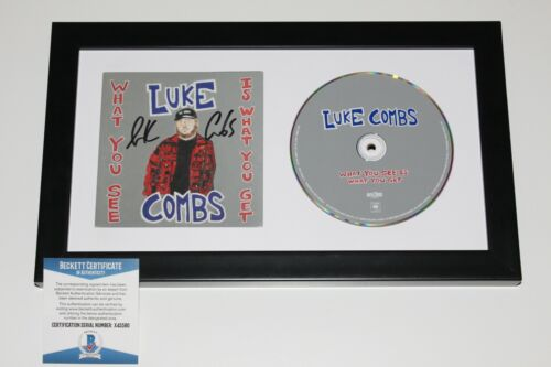 LUKE COMBS SIGNED FRAMED 'WHAT YOU SEE IS WHAT YOU GET' CD BECKETT COA ALBUM