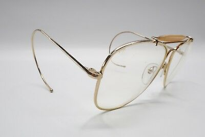 85d44771ab NICE Vintage Bushnell Gold Aviator Style Shooting Glasses Frame Korea Cable  9026