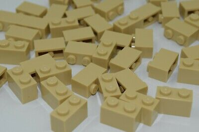 (50) NEW LEGO 1x2 TAN BRICKS bulk lot blocks modular wall 3004 brick yellow city
